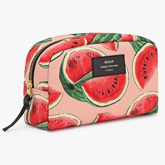 Wouf Accessoire Textile Makeup Bag Watermelon Big Rouge/Rose Moyen