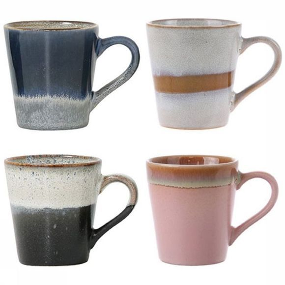 HK Living Keukengerei Tas Ceramic 70's Espresso Set of 4 Assortiment