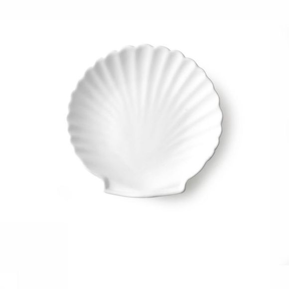 HK Living Keukengerei Athena Ceramics: Shell Tray White Matt M Wit