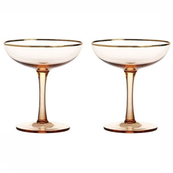 &KLEVERING Servies Champagne Coupe Gold Set Of 2 Middenroze