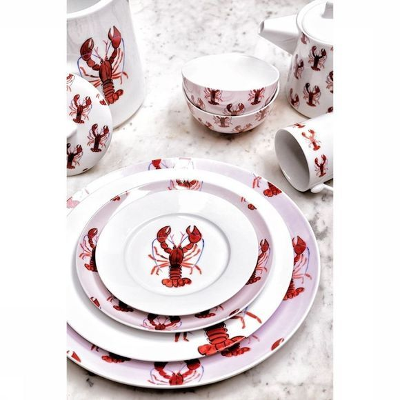 Fabienne Chapot Home Servies Breakfast Plate Lobster Wit/Rood
