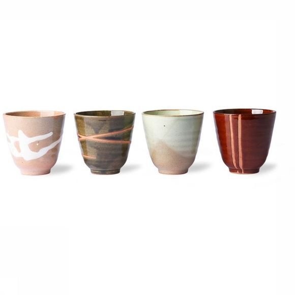 HK Living Service De Vaisselle Kyoto Ceramics: Japanese Yunomi Set of 4 Assortiment