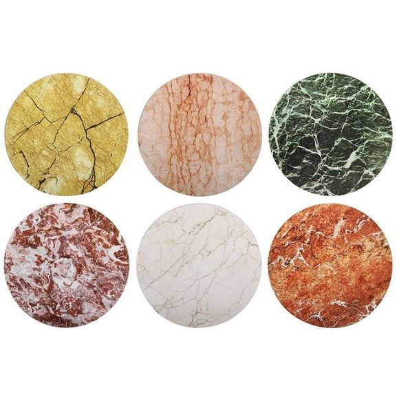 &KLEVERING Servies Set Of 6 Stone Coasters Assortiment