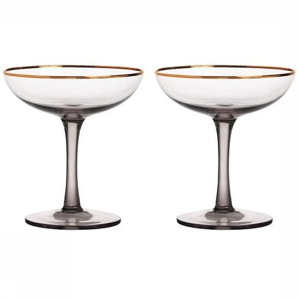 &KLEVERING Service De Vaisselle Champagne Coupe Smoked Set Of 2 Gris Moyen