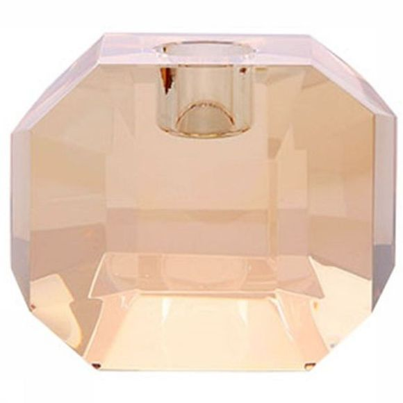 HK Living Bougeoir Crystal Glass Holder Amber Diamond Rose Clair