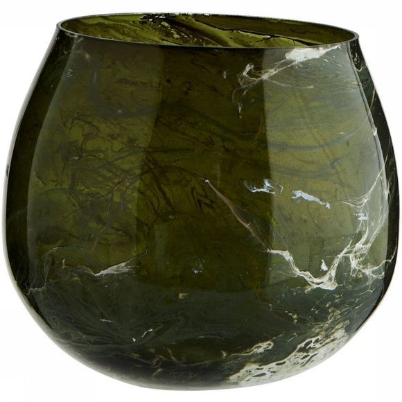 Madam Stoltz Bougeoir Glass Votive W/Marble Finish Vert Moyen/Blanc