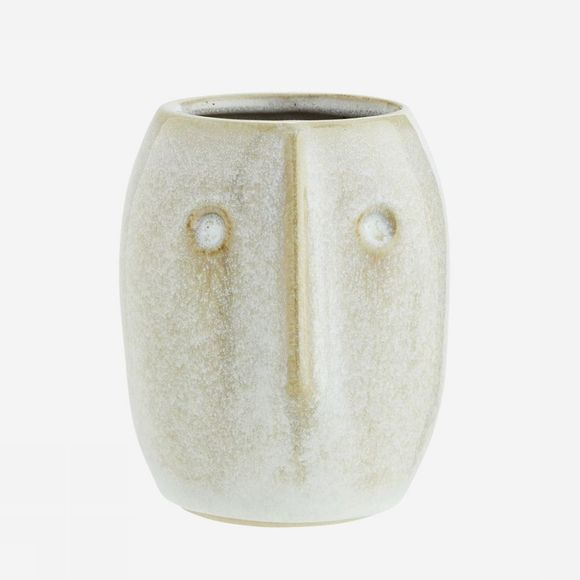 Madam Stoltz Cache-Pot With Face Imprint D 8*10Cm Blanc Cassé