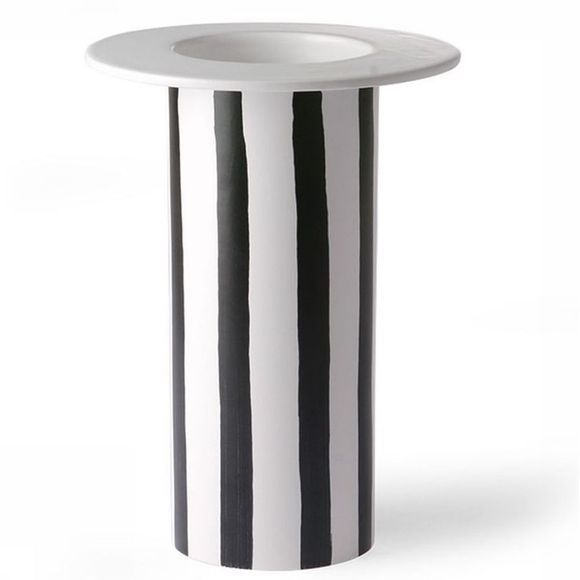 HK Living Vase Ceramic Black/White Striped Blanc/Noir