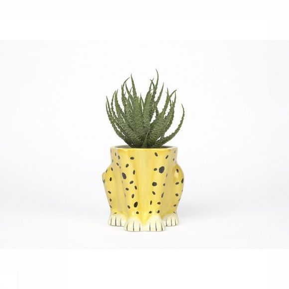 Doiy Vaas/Bloempot Urban Jungle Plant Pot Cheetah Zwart/Middengeel