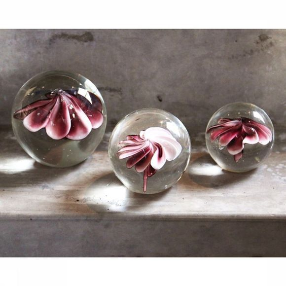 HK Living Decoratie Glass Flower Ball S Geen kleur/Middenroze