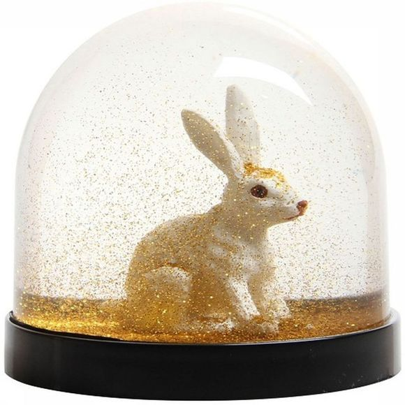 &KLEVERING Decoratie Wonderball Rabbit Gold Glitter Goud/Wit
