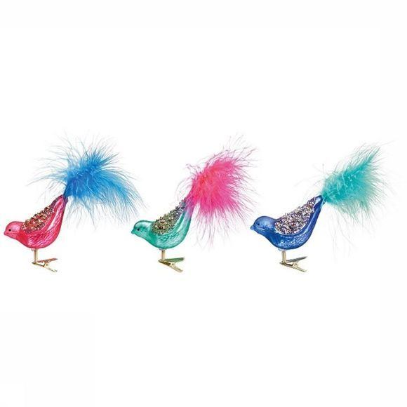 &KLEVERING Kerstcollectie Glitter Birds Glass On Clip Set Of 3 Assortiment