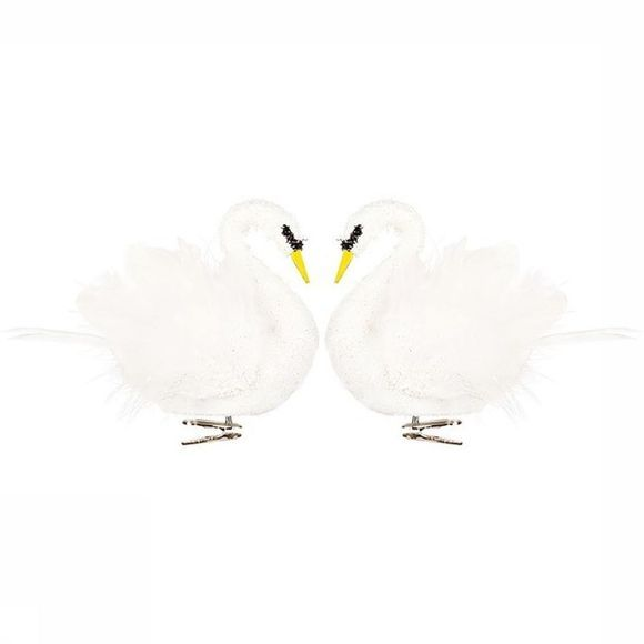 &KLEVERING Kerstcollectie White Swan On Clip Set Of 2 Wit
