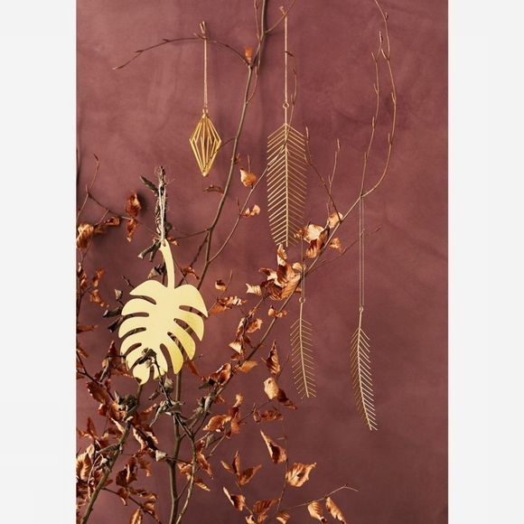 Madam Stoltz Kerstcollectie Hanging Iron Leaves Goud