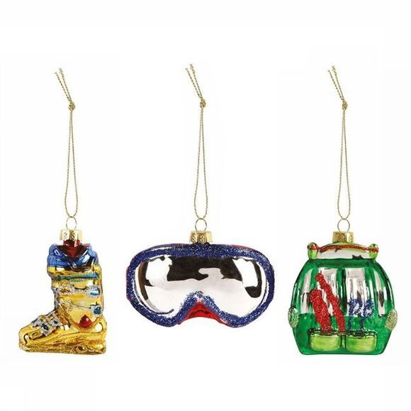 &KLEVERING Collection De Noel Winter Sports Ornaments Set Of 3 Blanc/Assortiment