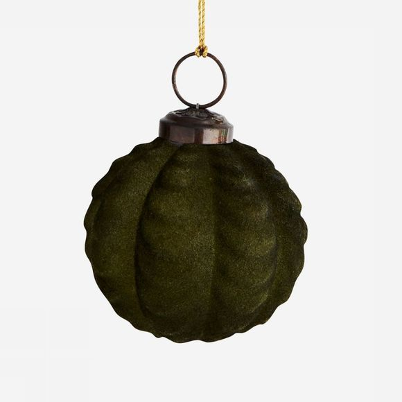 Madam Stoltz Kerstcollectie Hanging Glass Ball Donkerkaki