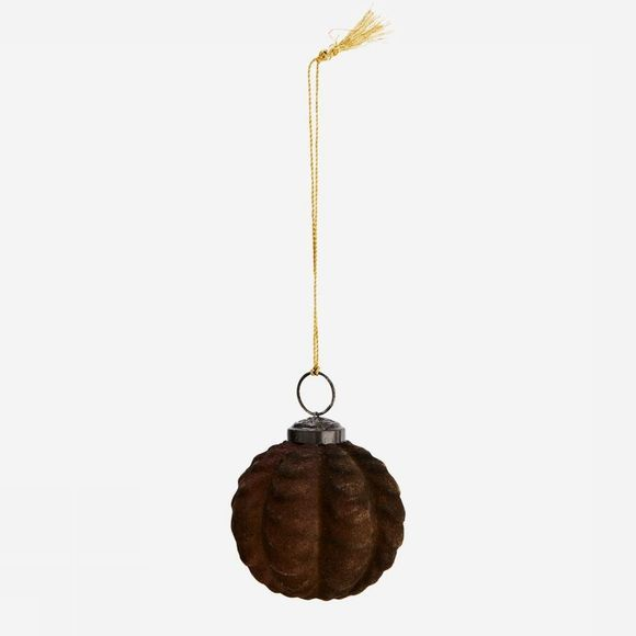 Madam Stoltz Kerstcollectie Hanging Glass Ball Donkerbruin