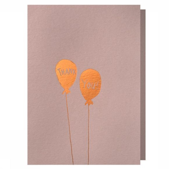 Papette Carte de Voeux Hot Copper Thank You Balloons Pas de couleur