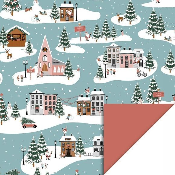 House of Products Papeterie CR-X-MAS LANDSCAPE Bleu Moyen/Blanc