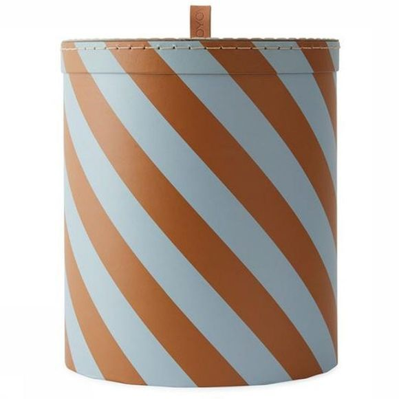 OYOY LIVING DESIGN Storage Box Round Medium Lichtblauw/Roest