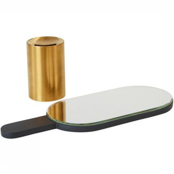 OYOY LIVING DESIGN Renga Hand Mirror In Stand Gris Foncé